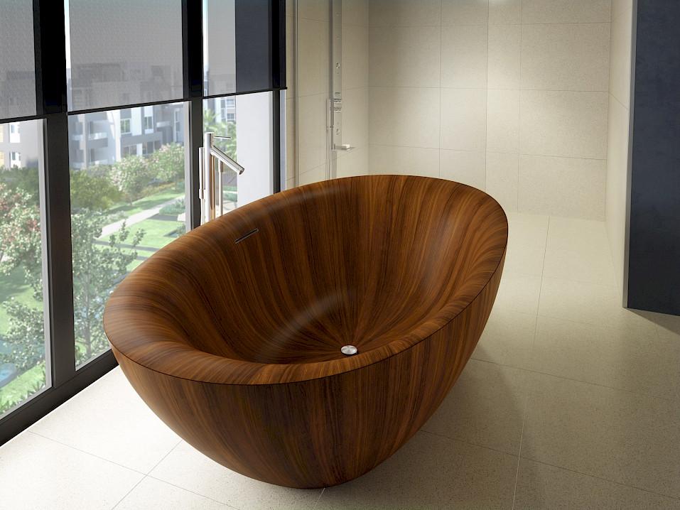 wooden bathtub PEARL: striking, unique, weightless – Alegna