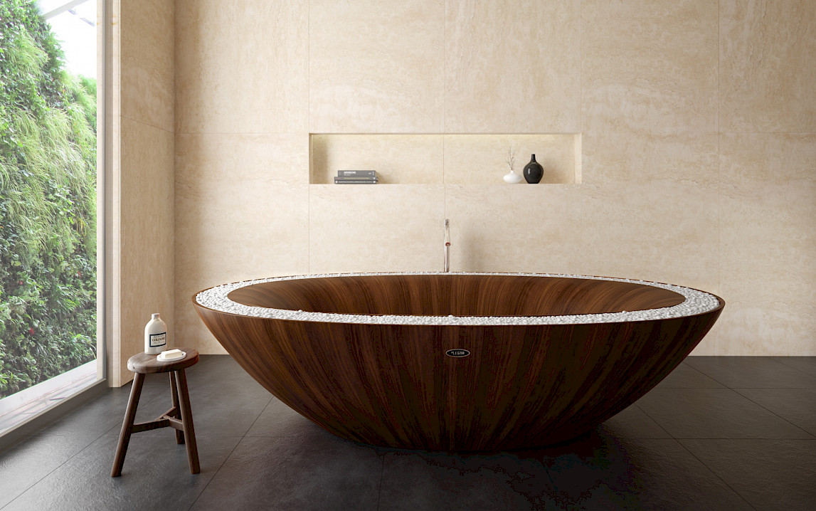 A free-standing wooden bathtub for the highest demands of a premium ...